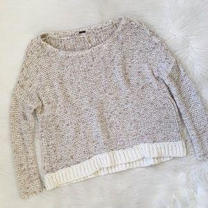Free People Chunky Knit Side Zipper Cream Sweater